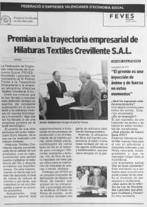 HTC RECIBIÓ EL XI PREMIO FEVES A LA TRAYECTORIA EMPRESARIAL