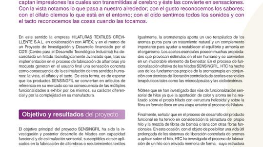 HTC APARECE EN UN ARTICULO DE LA REVISTA DEL INSTITUTO TECNOLÓGICO AITEX EN SEPTIEMBRE 2014, EN EL APARTADO DE CASOS DE ÉXITO